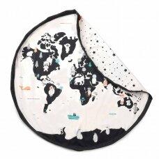 Krepšys Žaislams Pasaulio Žemėlapis Dvipusis