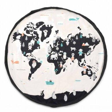 Krepšys Žaislams Pasaulio Žemėlapis Dvipusis 4
