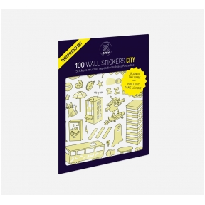 Set of stickers GLOW IN THE DARK - CITY 100 pcs | OMY