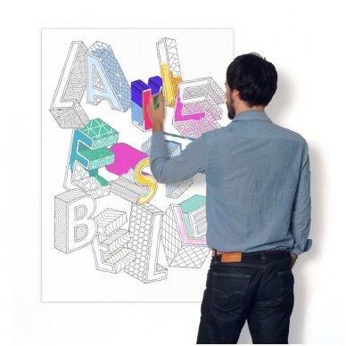 OMY Giant Coloring Poster - LA VIE EST BELLE 3