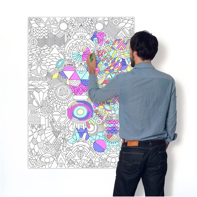 OMY Giant Coloring Poster - Happy Patchwork