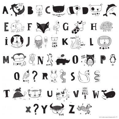 Simbolių rinkinys Lempai: ABC black | A Little Lovely Company